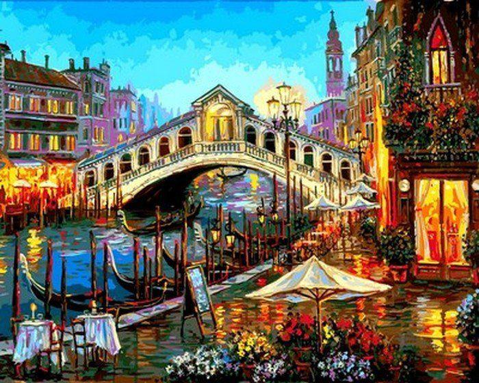 MR-Q2173 Огни ночной Венеции Набор-раскраска по цифрам