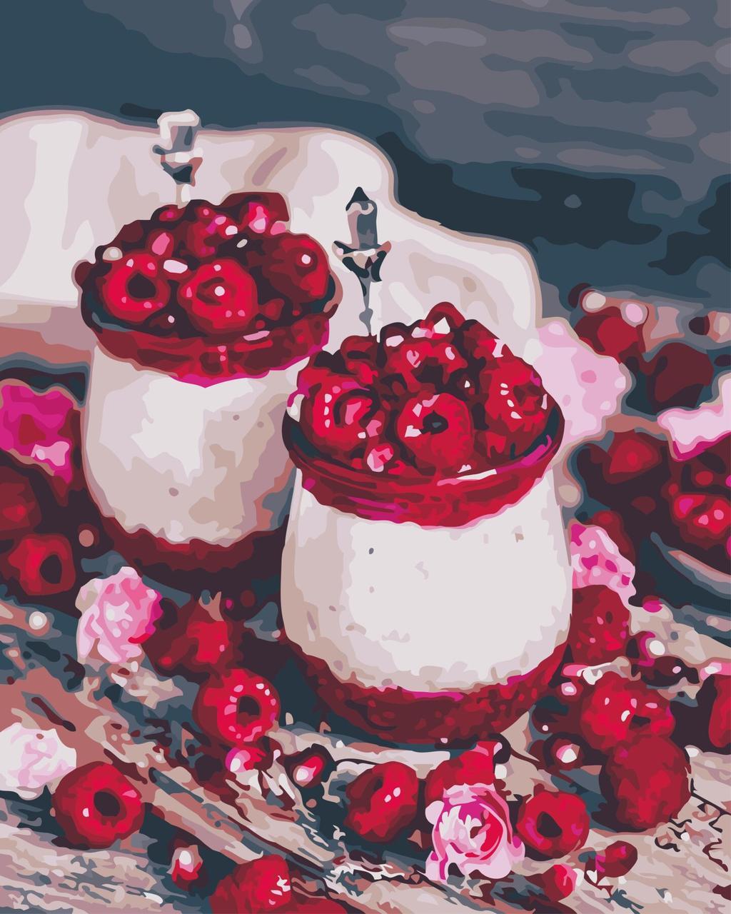 AS0591 Картина-набор по номерам Малиновый десерт, В картонной коробке