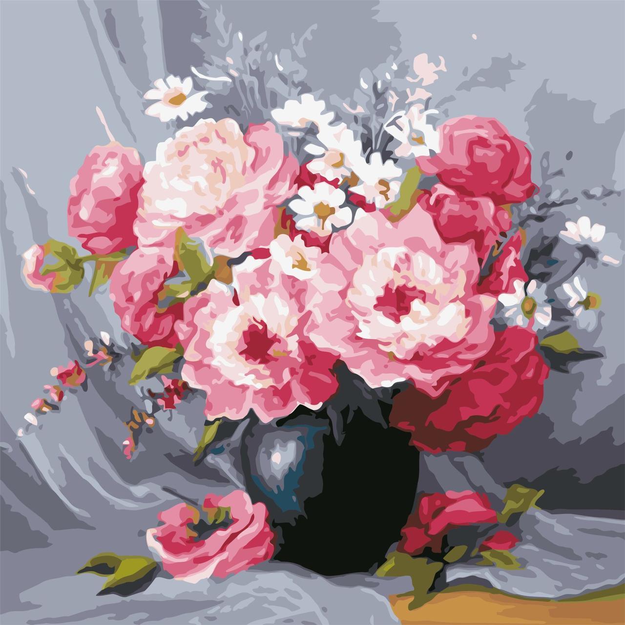 AS0603 Картина-набор по номерам Чайные розы в вазе, Без коробки