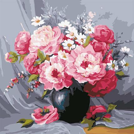 AS0603 Картина-набор по номерам Чайные розы в вазе, Без коробки, фото 2