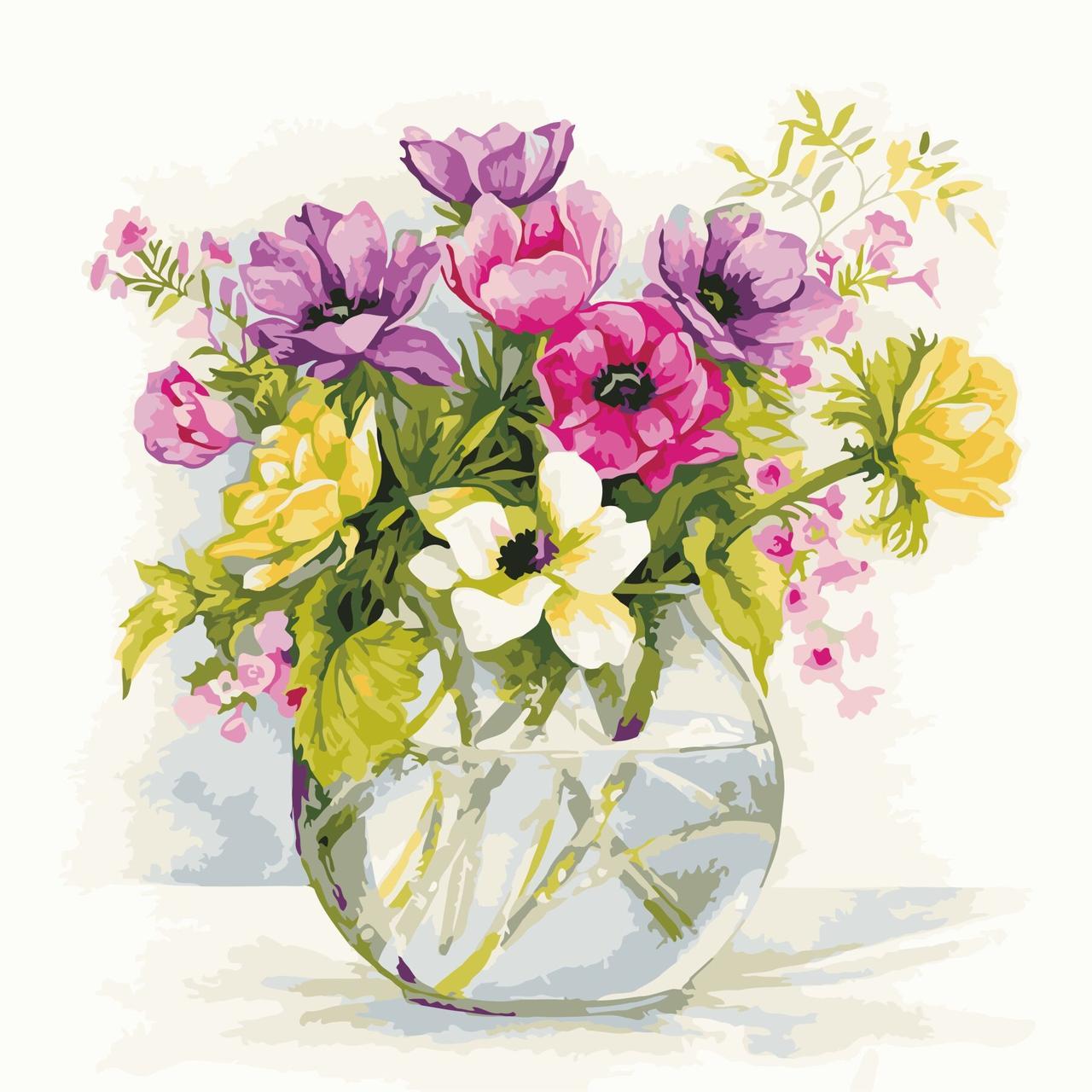 AS0609 Картина-набор по номерам Нежные садовые цветы, Без коробки