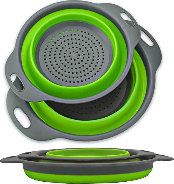 Дуршлаг складной силиконовый комплект из 2 шт Collapsible filter baskets Салатовый