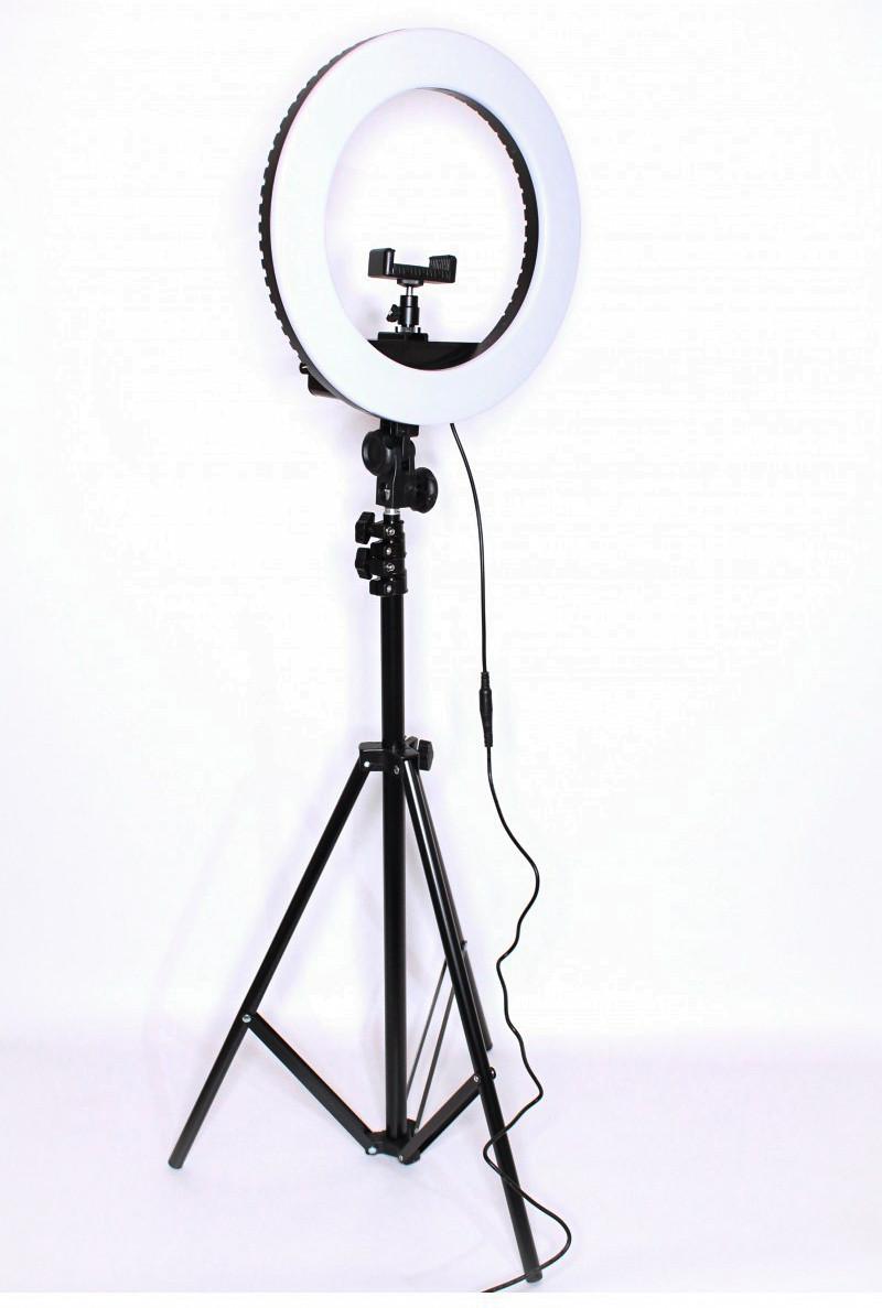 Набір блогера 2 в 1 Кільцева LED лампа 35 см 55W з тримачем для телефону і Штатив 2м селфи кільце 3 режими світіння HQ-14
