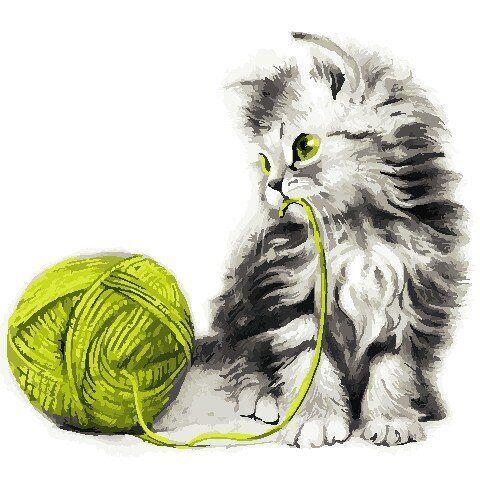 AS0806 Набор для рисования по номерам Котёнок с клубком, Без коробки