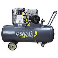 Компрессор ременной двухцилиндровый 380В, 3кВт, 150л, Sigma Refine (7044231)