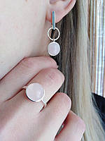 Срібний набір Ніжність з рожевим кварцом