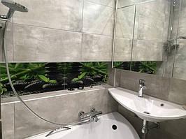 Фотоплитка - вставка для ванной - Бамбук на черных камнях 1