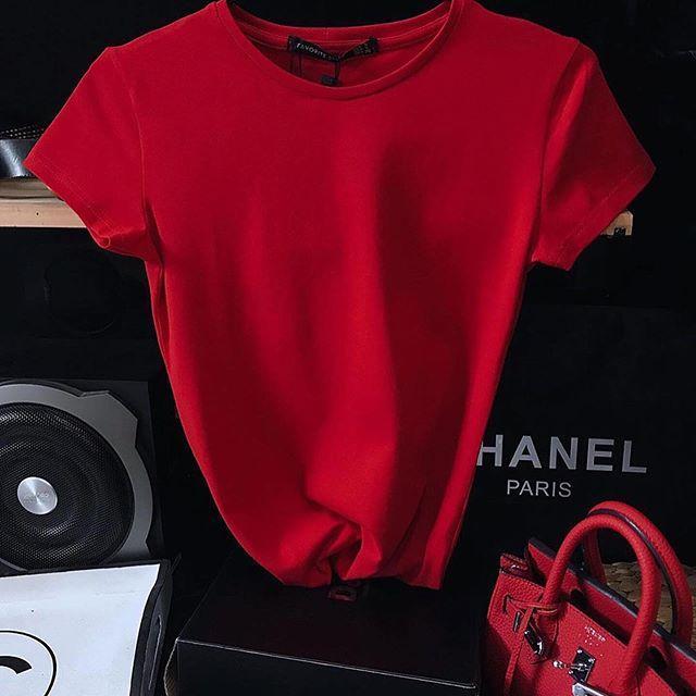 Женская футболка, коттон, р-р С; М (красный)