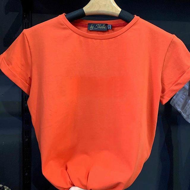 Женская футболка, коттон, р-р С; М (оранжевый)