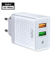 Зарядное устройство TOPK на 2 USB Зарядний блок живлення швидка зарядка 3.0 на два юсб порта