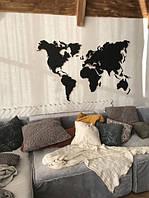 Деревянная карта Мира 170х100 см черная 6465459