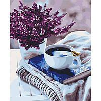 "Картина по номерам, холст на подрамнике - Натюрморт ""Лавандовое утро"" 40*50 см, без коробки"