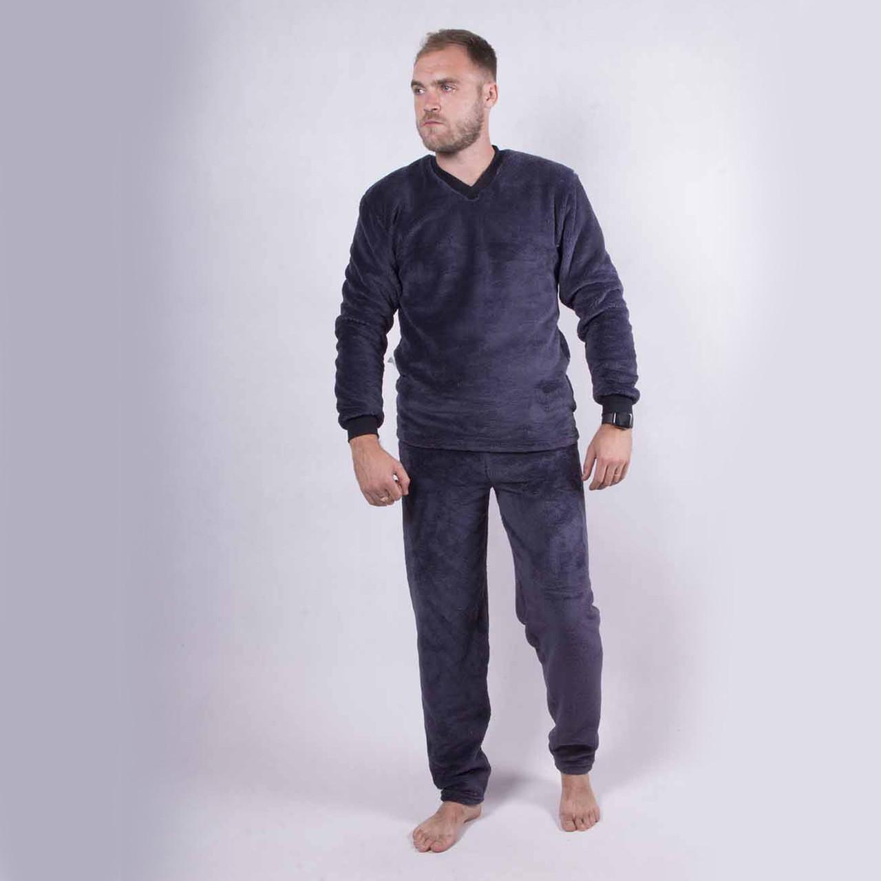 "Мужская махровая синяя пижама ""Dark Gray"" р.44-48"
