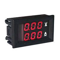 Амперметр-вольтметр цифровой DC0-100V/100A красно свечения с шунтом