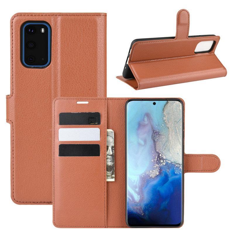 Чехол Luxury для Samsung Galaxy S20 (G980) книжка коричневый