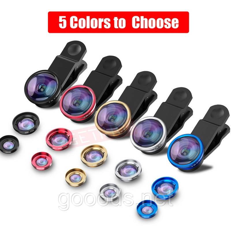 Комплект линз 3в1 для телефона (macro, wide, fisheye lens)