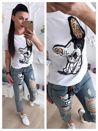 Костюм джинсы и футболка с накаткой бульдог, фото 2
