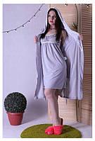 Комплект халат и ночнушка для беременных и кормящих в роддом, фото 1