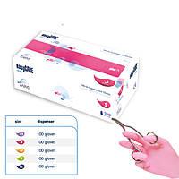 Перчатки нитриловые, розовые mediCARE - 50 пар/уп, S