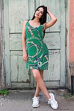 Красивое летнее платье с принтом зелёное