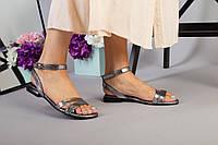 Кожаные босоножки на низком ходу платинового цвета 37 размер, фото 1