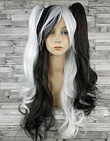 Парик женский косплей Лолита черный белый со съемными хвостами аниме