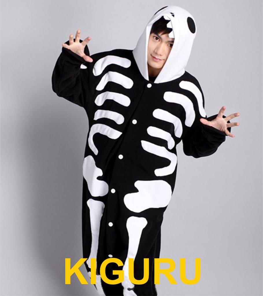 Пижама кигуруми в виде скелета. Костюм хэллоуин