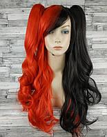 Парик женский косплей Лолита красный с черным со съемными хвостами аниме