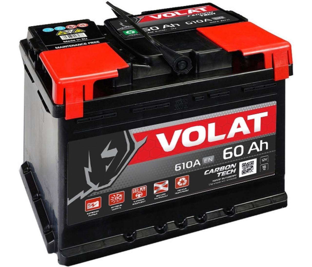 Акумулятор VOLAT -60A +прав (L2) (600 пуск) , 47474