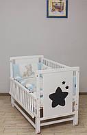 """Дитяче ліжечко """"Зірка"""" біле з відк.боковинкою на шарнірах"""