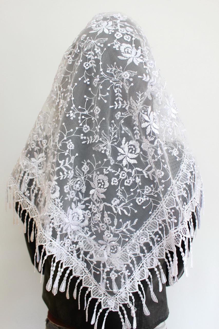 Платок белый свадебный церковный ажурный 230005