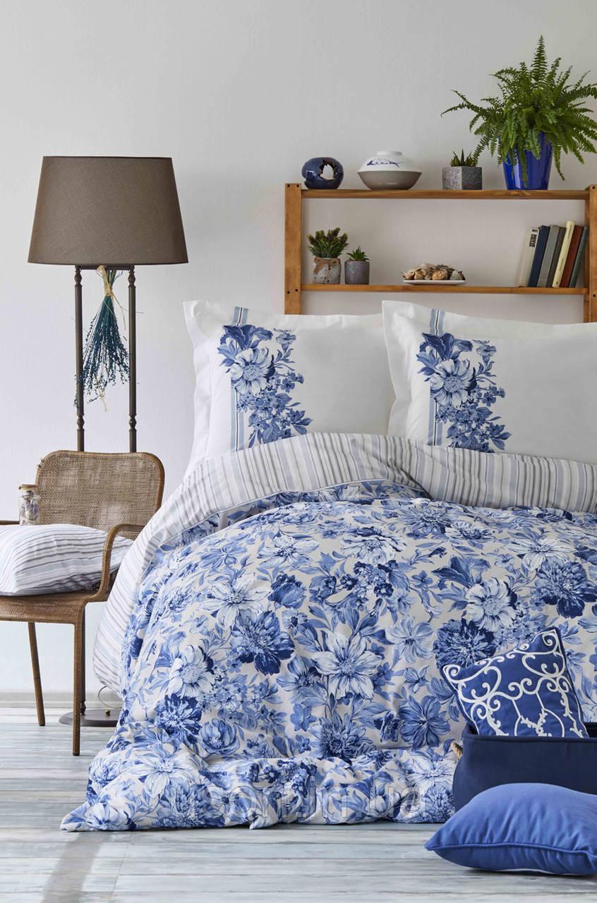 Комплект постельного белья с покрывалом Pike евро TM Karaca Home Melanie İndigo