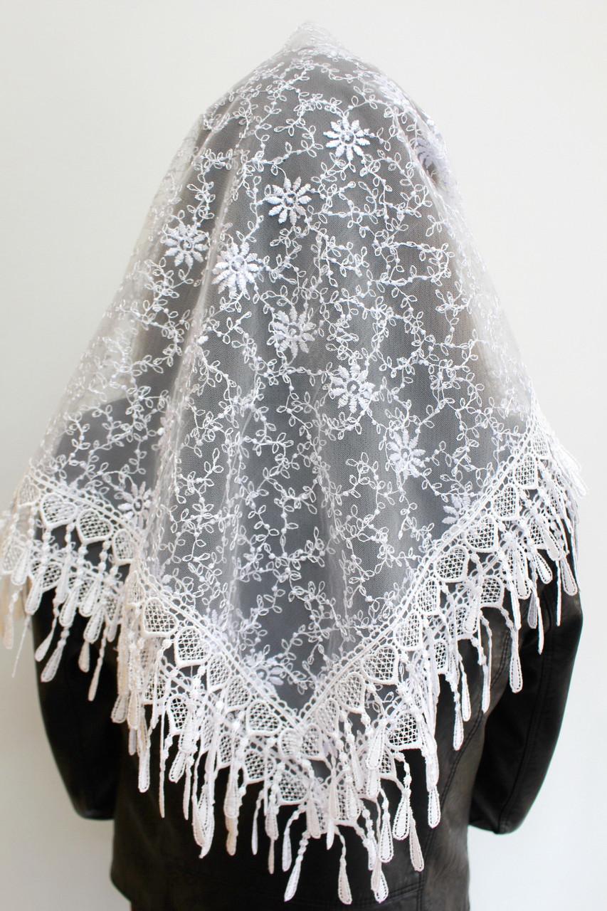 Платок белый свадебный церковный ажурный 230006