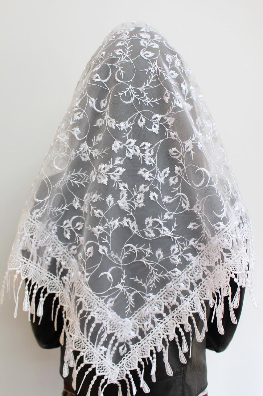 Платок белый свадебный церковный ажурный 230012