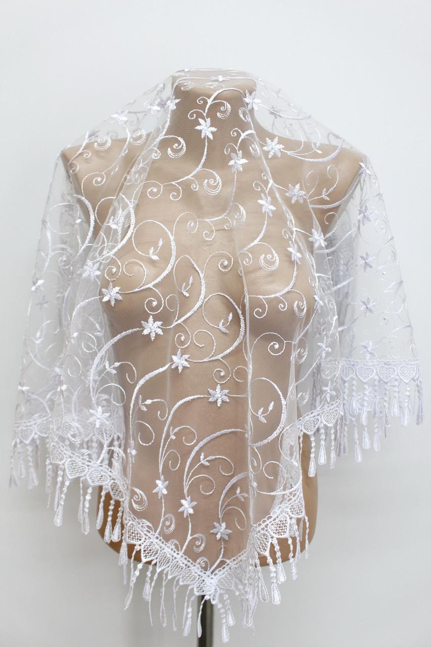 Платок белый свадебный церковный ажурный 230003