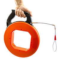 Кабельная протяжка, в пластиковой БУХТЕ 4мм х 30м, мини узк, трос протяжка для кабеля 30 метров, устройство затяжки кабеля, кондуктор
