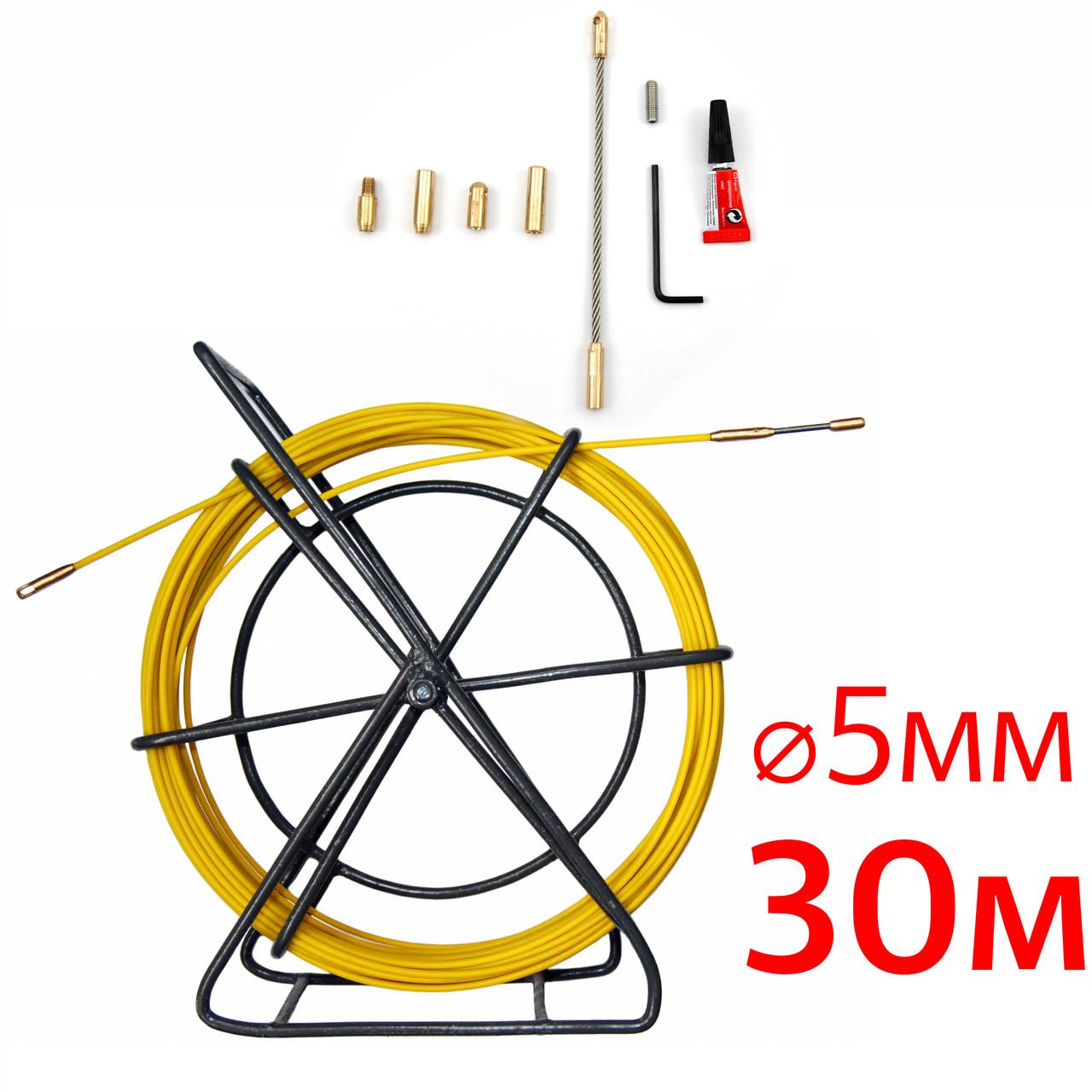 Кабельная протяжка, стеклопруток 5мм х 30м + 7 наконечников на тележке, узк, протяжка для кабеля 30 метров,