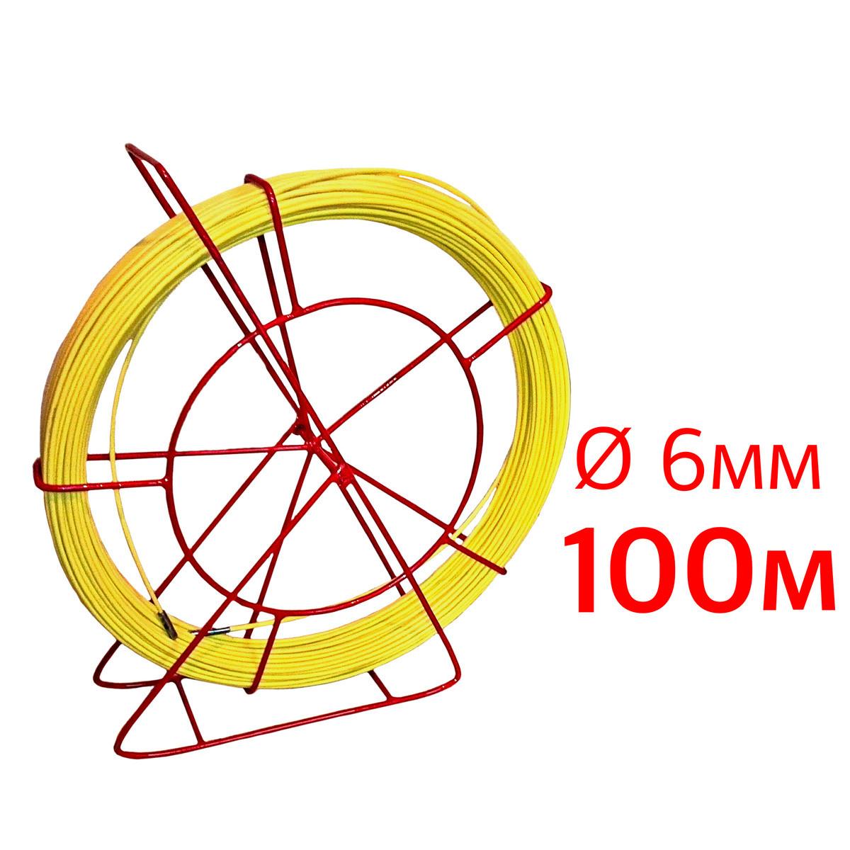 Кабельная протяжка, стеклопруток 6мм х 100м + 7 наконечников на тележке, узк протяжка для кабеля 100 метров,