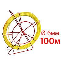 Кабельная протяжка, стеклопруток 6мм х 100м + 7 наконечников на тележке, узк трос протяжка для кабеля 100 метров, устройство затяжки кабеля, кондуктор