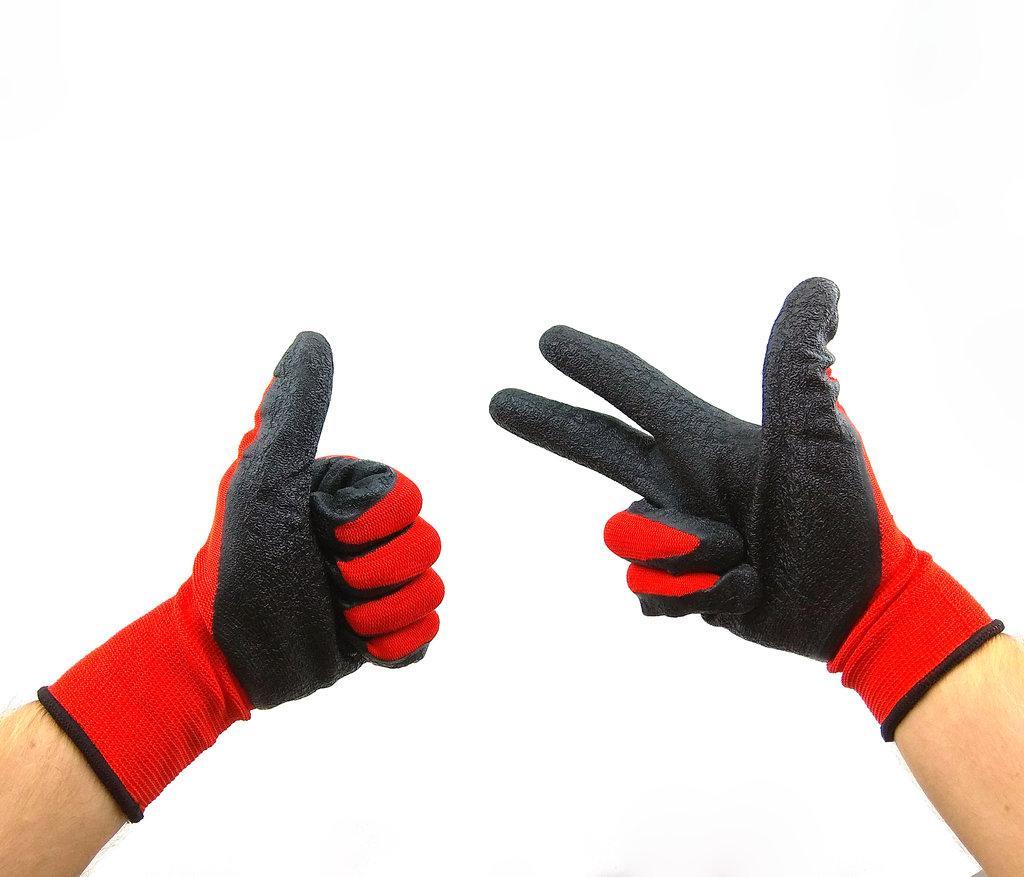 Перчатки с резиновым (латексным) покрытием, цепкий хват