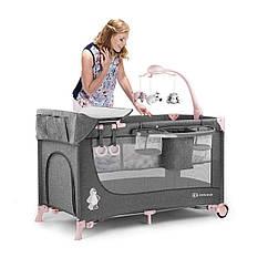 Кровать-манеж с пеленатором Kinderkraft Joy Pink