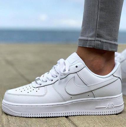 Кроссовки мужские женские демисезонные Nike Air Force 1 Low White, найк аир форс 1 белые, фото 2