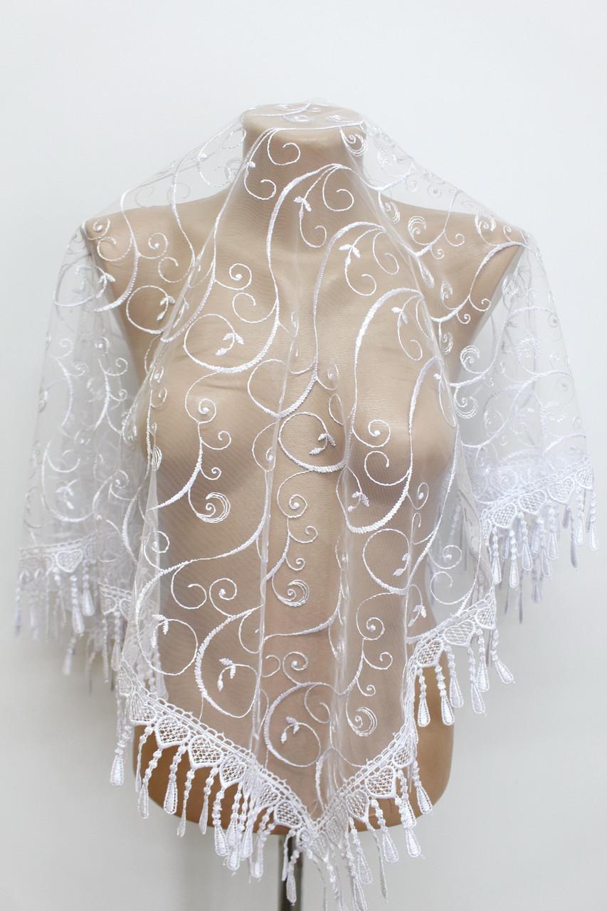 Платок белый свадебный церковный ажурный 230007