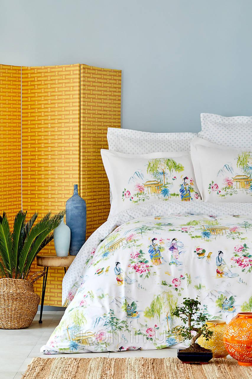 Комплект постельного белья с покрывалом Pike евро TM Karaca Home Hinata Yeşil