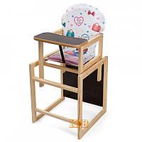 Деревянный стульчик для кормления трансформер Наталка Зайчик бело-розовый (Сумки)