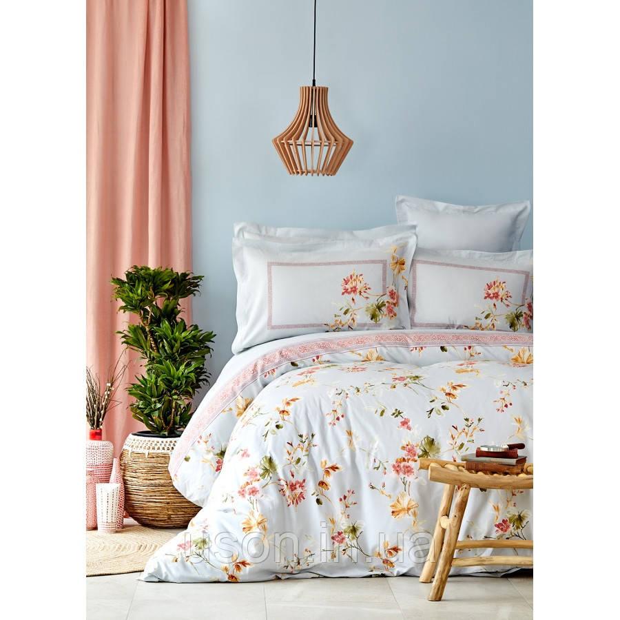 Комплект постельного белья с покрывалом Pike евро TM Karaca Home  Dalia mavi
