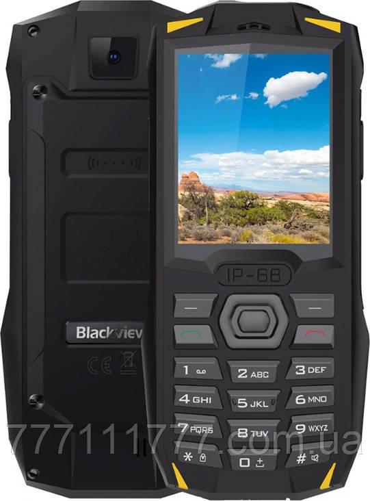 Телефон ударопрочный, черный блеквью с батареей большой емкости на 2 sim Blackview BV1000 Yellow IP68