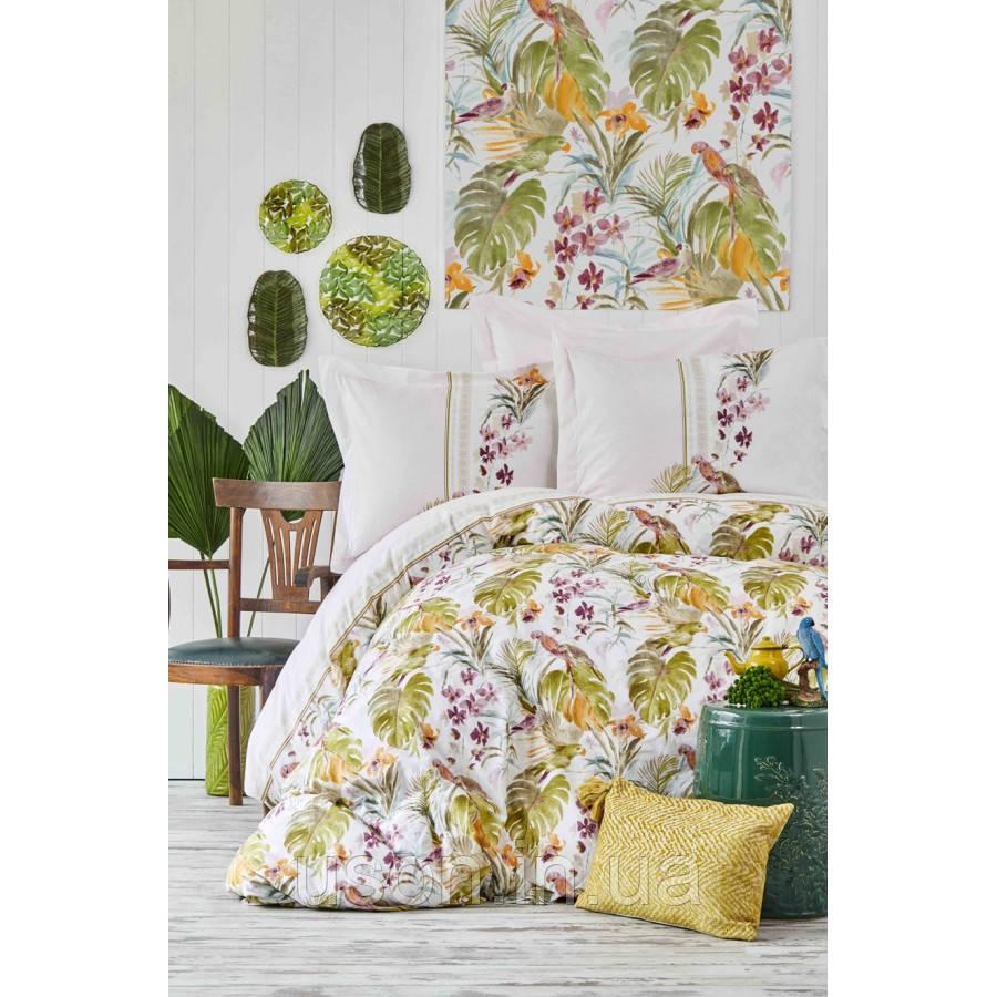 Комплект постельного белья с покрывалом Pike евро TM Karaca Home  Palava fusya