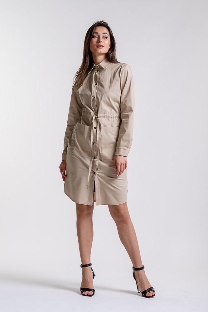 Женское платье-рубашка  (Бежевый)