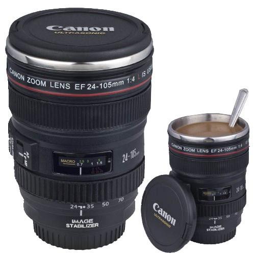 Термокружка с крышкой и поилкой в виде объектива фотоаппарата Canon EF 24 105   Стильная чашка термос